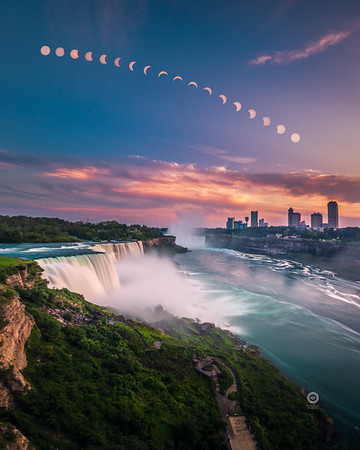 Solar eclipse over Niagara falls - Featured in Fstoppers magazine - Aug. 2017