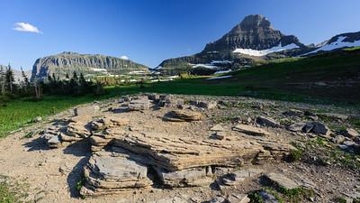 Rock formations, Logan Pass, Glacier National Park.