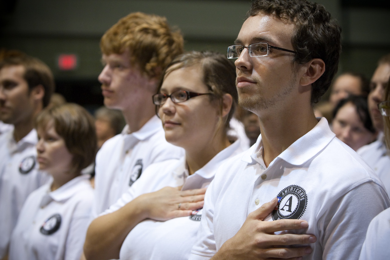 AmeriCorps NCCC members are sworn in during the opening of the NCCC campus in Vicksburg, MS, on Sept. 1, 2009. (Corporation for National and Community Service photo)