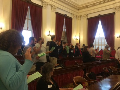 Governor Peter Shumlin and Montpelier Mayor John Hollar joined SerVermont for AmeriCorps' 20th Anniversary Celebration at the Statehouse in Montpelier. Corporation for National and Community Service Photo.