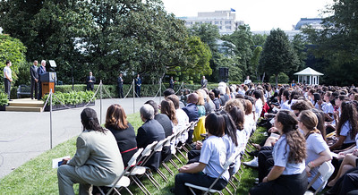 President Clinton provides remarks at the 20th Anniversary of AmeriCorps on the South Lawn of the White House. Joined by President Obama and CNCS CEO Wendy Spencer. Corporation for National and Community Service Photo.