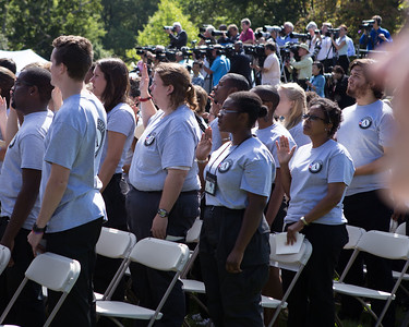 AmeriCorps members take the pledge on the South Lawn of the White House in Washington, D.C. to celebrate the 20th Anniversary of AmeriCorps. Corporation for National and Community Service Photo.