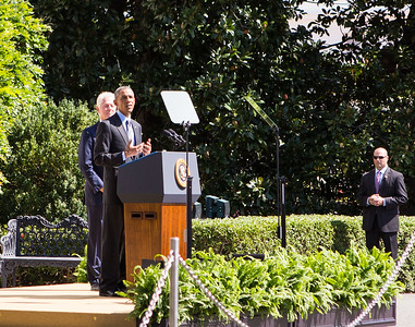 President Obama provides remarks at the 20th Anniversary of AmeriCorps on the South Lawn of the White House. Joined by President Clinton  and CNCS CEO Wendy Spencer. Corporation for National and Community Service Photo.