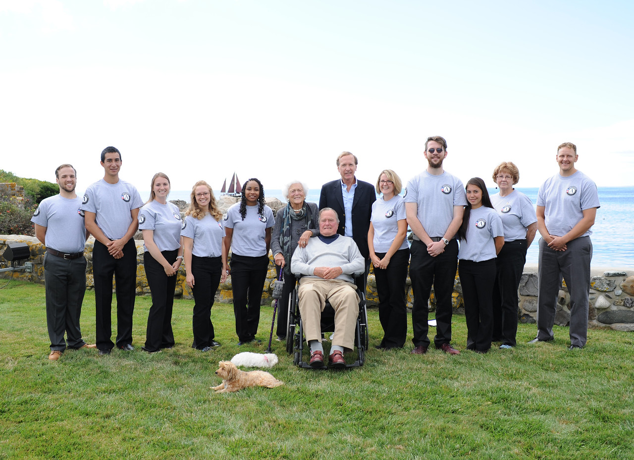President George H.W. Bush participates in an AmeriCorps pledge ceremony at his home in Kennebunkport, Maine, one of 100 pledge ceremonies taking place across the country to mark AmeriCorps 20th anniversary and kick off a year of service for 75,000 AmeriCorps members. Corporation for National and Community Service Photo.