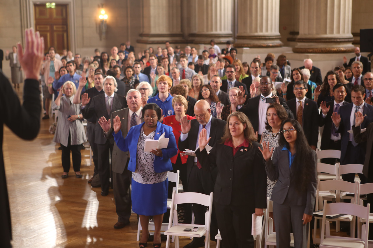 Audience participating in the AmeriCorps pledge. Corporation for National and Community Service Photo.