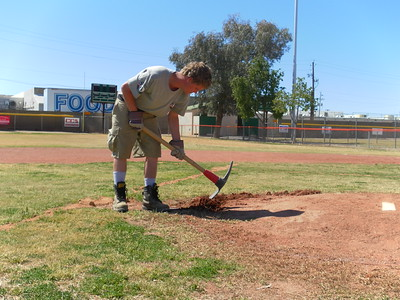 A Corps Member with Fire 7 works on a park in Casa Grande, Arizona during Round 3 of Class 18. AmeriCorps NCCC. Corporation for National and Community Service Photo.