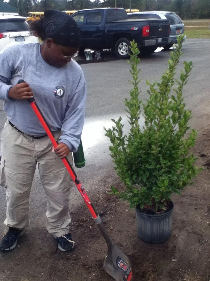 A member of Delta 4 planting trees on their 4th round project.