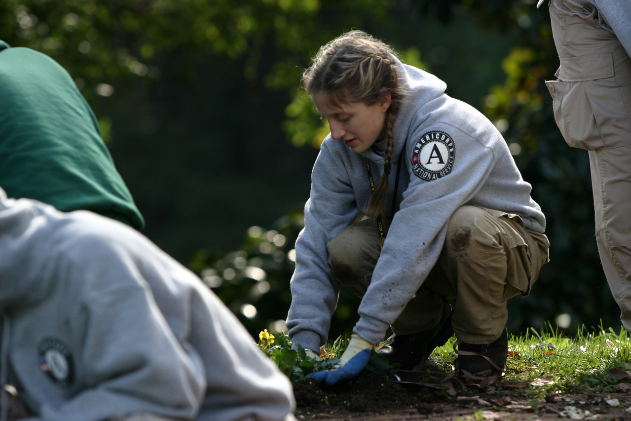 Hundreds of AmeriCorps members and Senior Corps volunteers from across the nation took part in service projects as part of Make A Difference Day on October 23.  In Washington, D.C., more than 300 people assembled for a massive landscaping and grounds cleanup at the Frederick Douglass National Historic Site in the city's Anacostia neighborhood. Corporation for National and Community Service Photo.