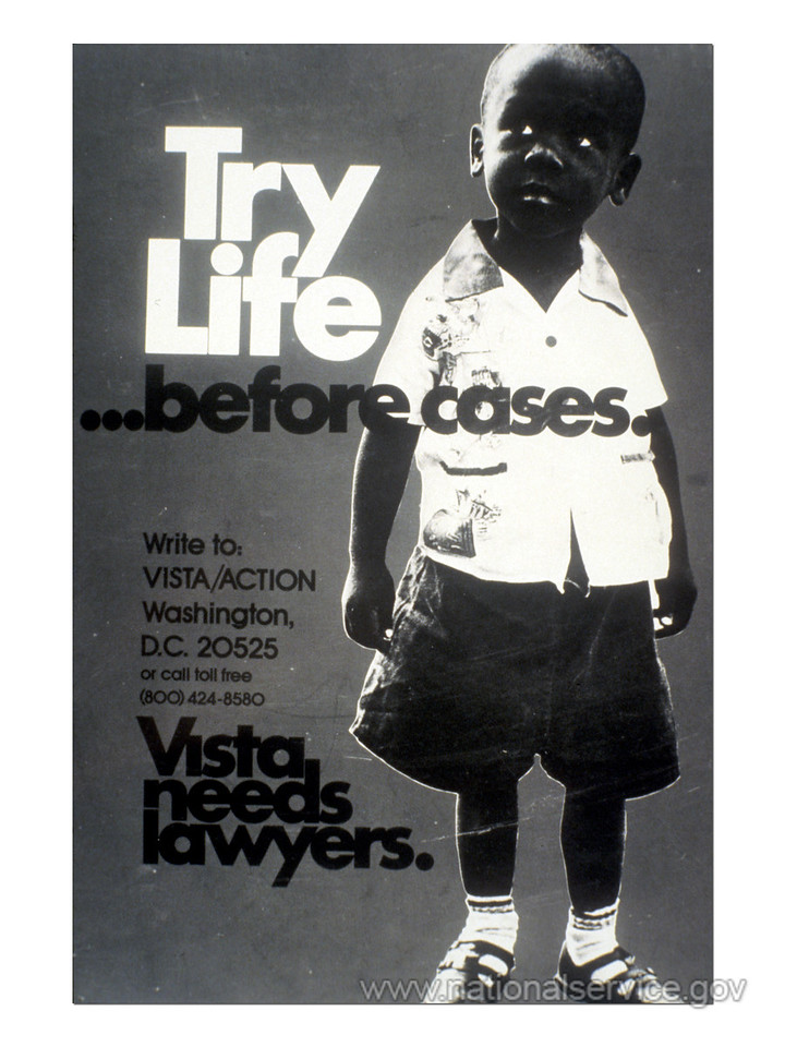 In the late 1960s, VISTA created a Professional Corps to enlist lawyers, doctors, and architects. VISTA volunteers (mostly lawyers and paralegals) were active in legal assistance programs throughout the country. Among the programs were: juvenile justice and civil rights of prisoners; legal services for the elderly poor, mentally handicapped, and Native American groups; community legal education; assistance to cooperatives and credit union; and research regarding utilities, welfare rights, housing and consumer legislation, and land use. (© 1980 Corporation for National and Community Service - Office of Public Affairs)