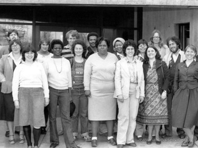 Today a Congresswoman, Gwendolynne Moore was among this group of VISTA members who completed a Pre-Service Orientation in 1982, conducted by Milwaukee Associates in Urban Development, a VISTA project sponsor in Wisconsin. U.S. Representative Moore is in the first row, second from the left. Linda Sunde, also a VISTA alumna and now the Corporation State Director in Wisconsin, is in the second row, left. (© 1982 Corporation for National and Community Service - Office of Public Affairs)