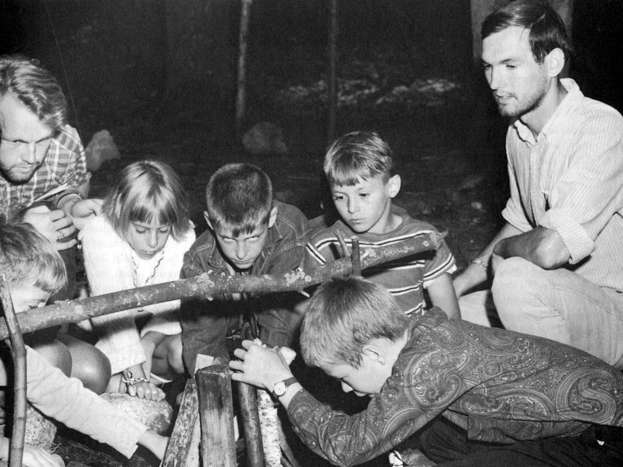"""In 1966, VISTA volunteers began organizing and staffing summer camps across the country for low-income youth. Activities included horseback riding, swimming, scavenger hunts, candle making, sleepouts, cookouts, and nature study. """"We gave the campers a chance to be kids for five days, to discover the country, to be away from the pressures of cars and police and going to the store for mother,"""" said Chuck Koloms, a VISTA volunteer who, in 1968, sold candy in Pittsburgh's City Hall to raise funds to help turn a local estate into Maple Lodge Camp. (© 1968 Corporation for National and Community Service- Office of Public Affairs)"""