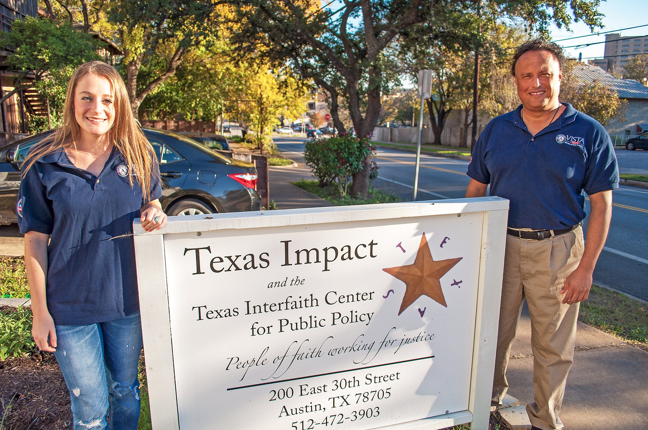 AmeriCorps VISTA members serving with Texas Impact, a faith-based nonprofit organization in Austin, TX.