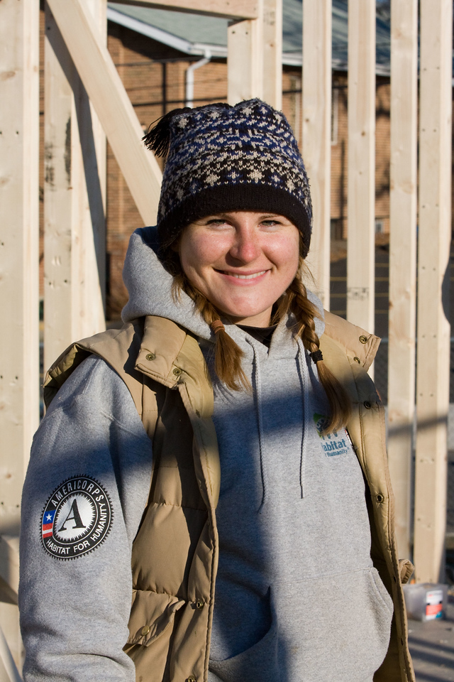 AmeriCorps member Courtney Benzon joined  with Habitat for Humanity volunteers to frame a house in Washington, D.C., as part of the 2008 Martin Luther King Day of Service. About 20,000 people in the District of Columbia participated in nearly 150 service projects in honor of the slain civil rights leader on January 21, 2008.