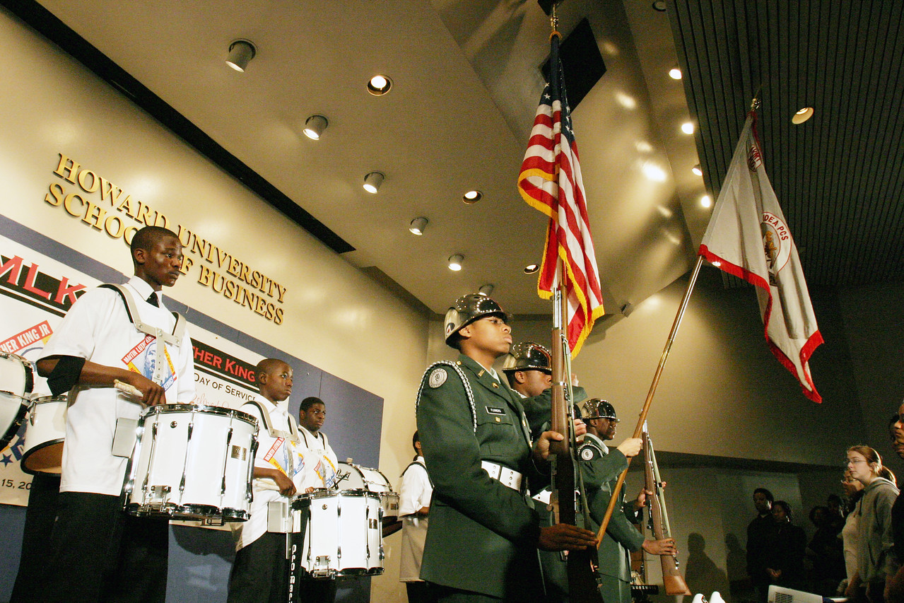 In Washington, D.C., the Martin Luther King, Jr., Day of Service started off with a ceremony at Howard University.  Members of the IDEA Charter School Drum Corps welcomed participants with a performance and Presentation of the Colors.  An estimated 10,000 volunteers served through more than 80 projects in and around Washington D.C.  They joined hundreds of thousands of Americans who participated in the 2007 King Day of Service, sponsored by the Corporation for National and Community Service.