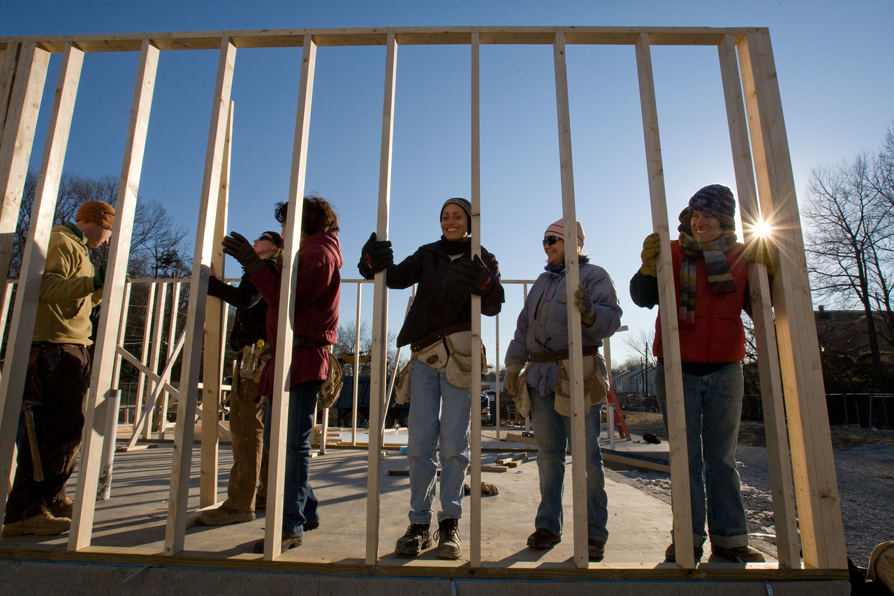 AmeriCorps and volunteers with Habitat for Humanity braved a day of 20-degree weather to frame a house in Washington, D.C., as part of the 2008 Martin Luther King Day of Service. About 20,000 people in the District of Columbia participated in nearly 150 service projects in honor of the slain civil rights leader on January 21, 2008.