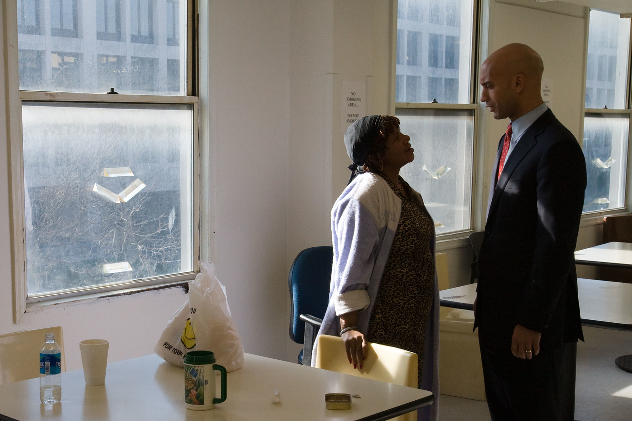 A resident of the Community for Creative Nonviolence chats with Mayor Adrian Fenty during a 2008 Martin Luther King Day of Service project at the homeless shelter. About 20,000 people in the District of Columbia participated in nearly 150 service projects in honor of the slain civil rights leader on January 21, 2008.