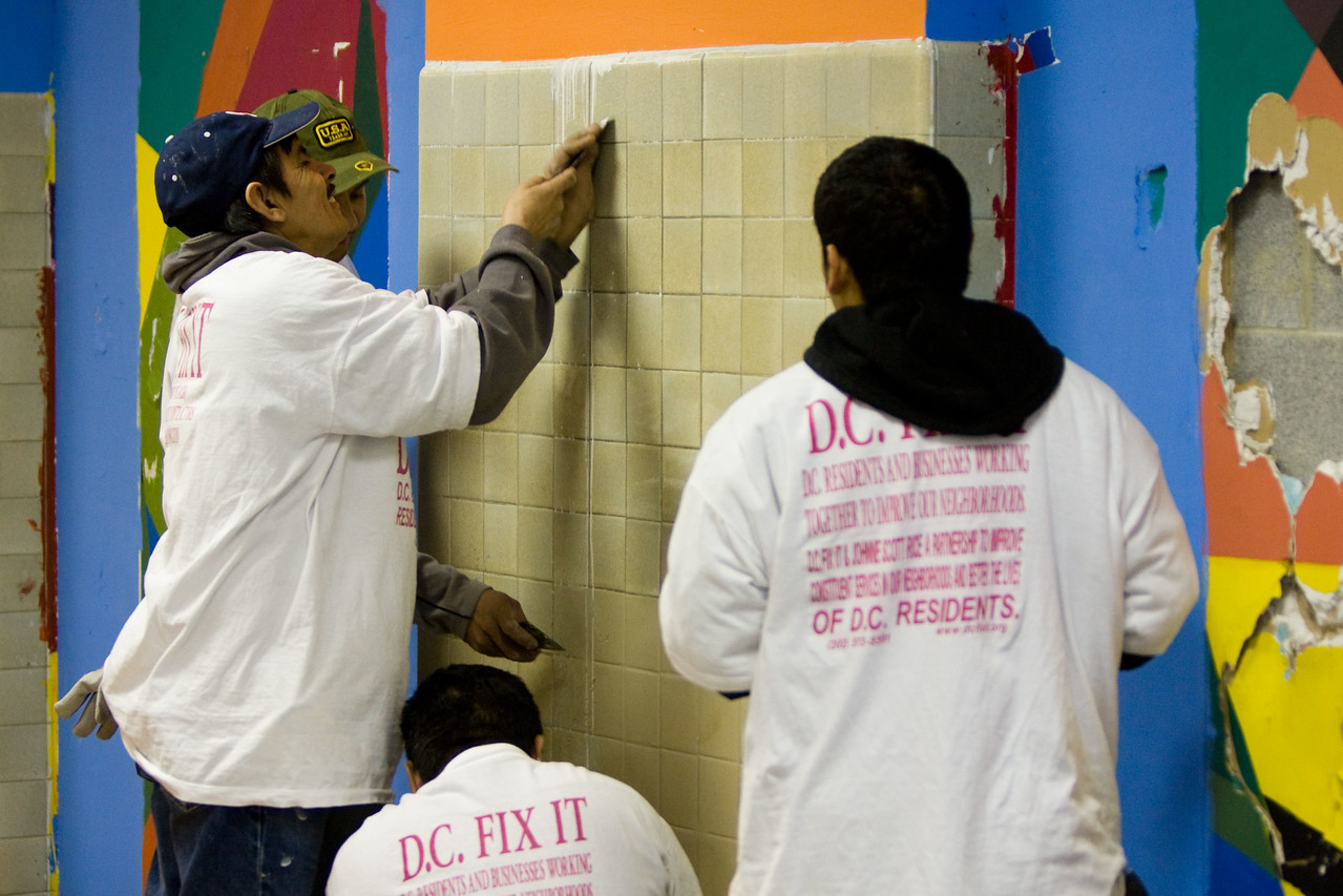Members of DC FIX IT pitch in during a 2008 Martin Luther King Day of Service at Theodore Roosevelt High School in Washington, D.C. About 20,000 people in the District of Columbia participated in nearly 150 service projects in honor of the slain civil rights leader on January 21, 2008.