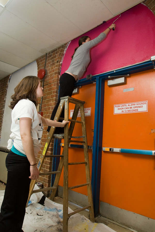 Volunteers paint the hallways at Theodore Roosevelt High School in the District of Columbia during a service project on Martin Luther King Day. About 20,000 people in the District of Columbia participated in nearly 150 service projects in honor of the slain civil rights leader on January 21, 2008.