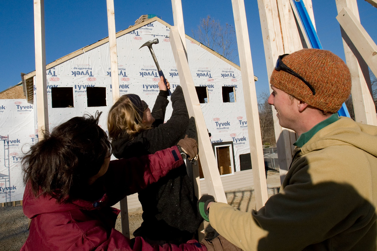 Dozens of new homes will soon fill a Washington, D.C. neighborhood courtesy of Habitat for Humanity, AmeriCorps, and volunteers like these who spent 2008 Martin Luther King Day serving at the house build. About 20,000 people in the District of Columbia participated in nearly 150 service projects in honor of the slain civil rights leader on January 21, 2008.