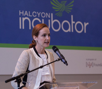 Kate Goodall of Halcyon Incubator speaks during the Pay for Success Grantee Announcement at Halcyon House in Washington, D.C. Corporation for National and Community Service Photo.