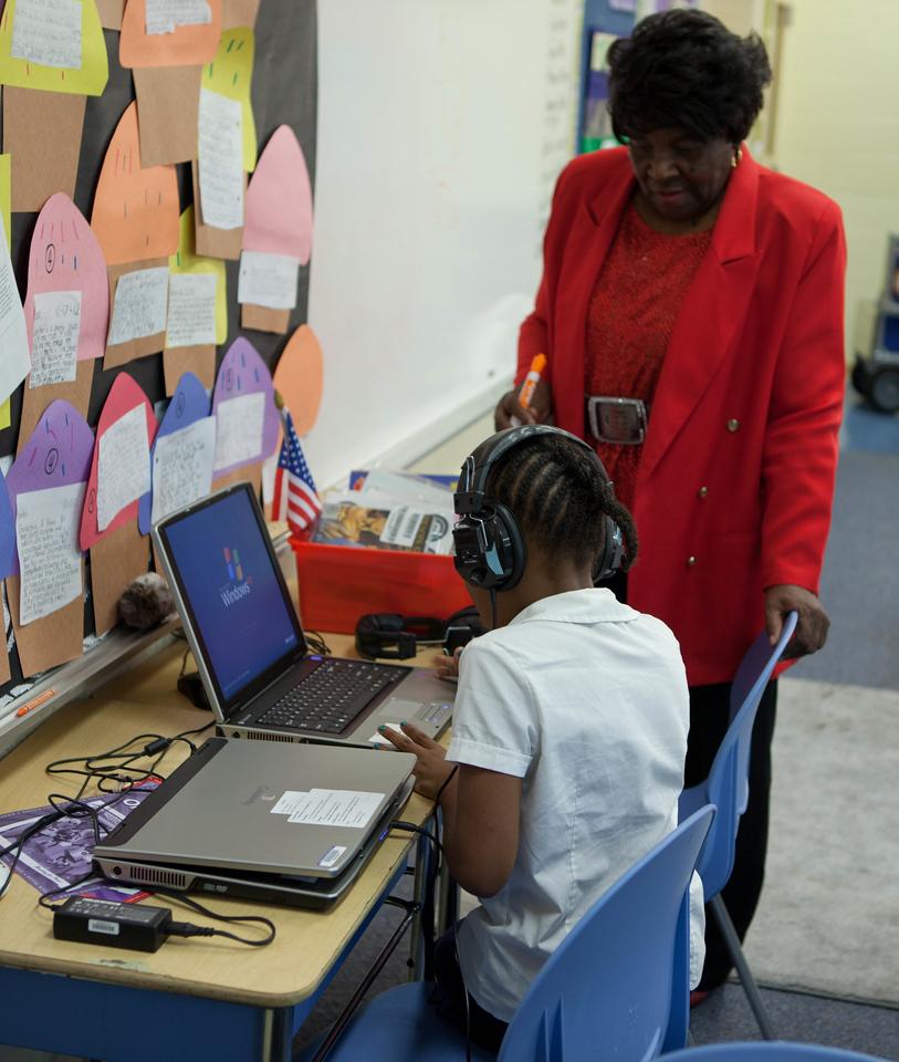 FGP, Minette Wheeler tutoring student Erin Jackson. Corporation for National and Community Service Photo.