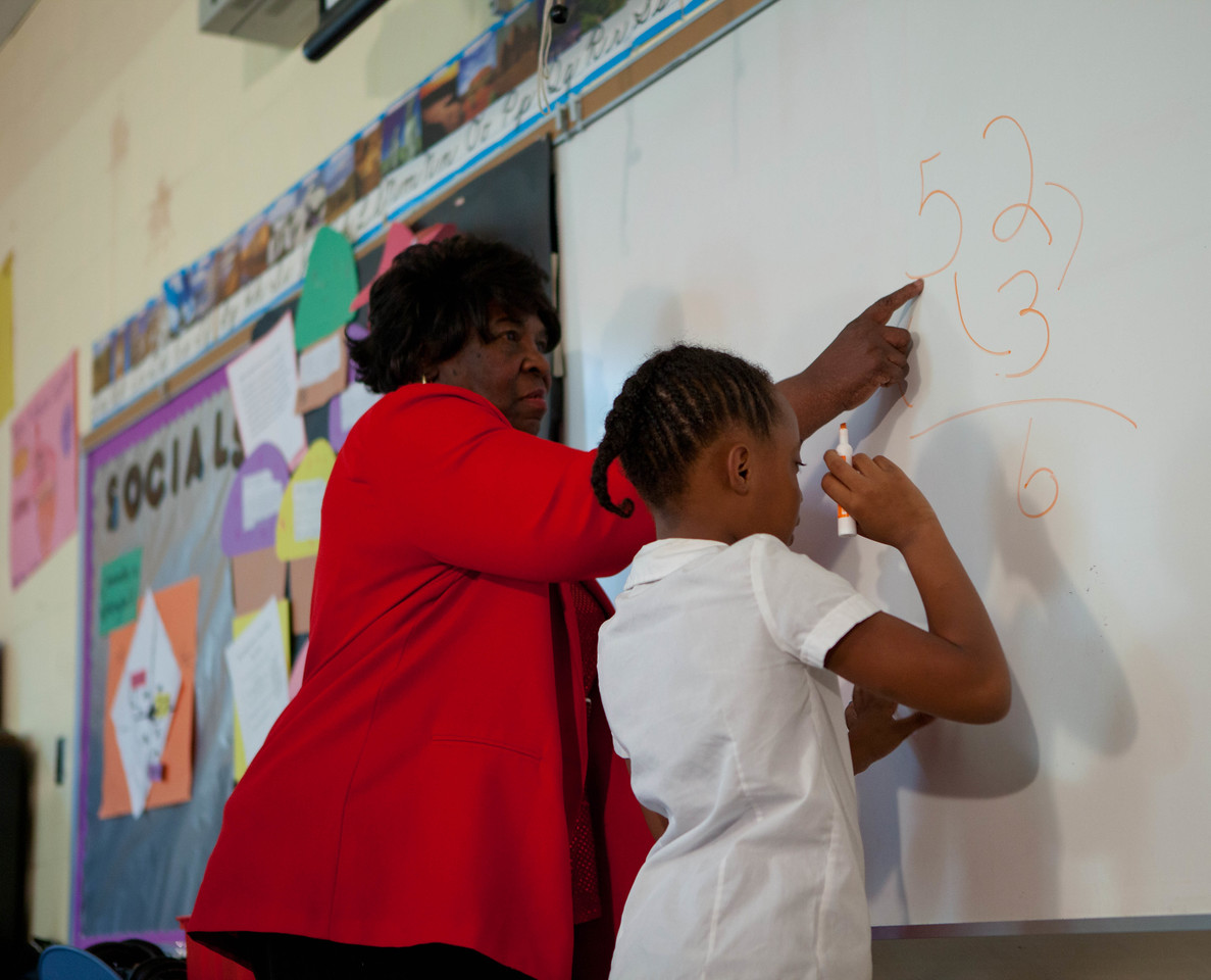 FGP, Minette Wheeler practicing multiplication with student Erin Jackson. Corporation for National and Community Service Photo.