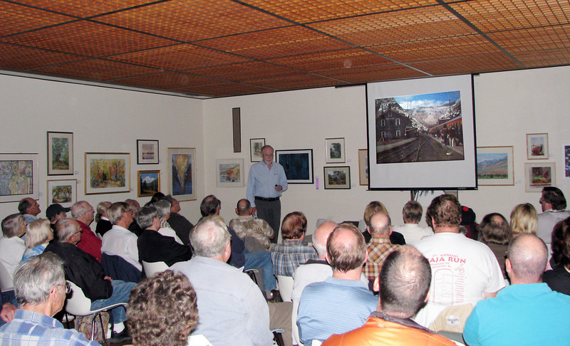 International rail traveler Rich Thom speaks on China's Qinghai-Tibet Railway to a packed house of 75 at Goleta Library, Nov. 10, 2008.