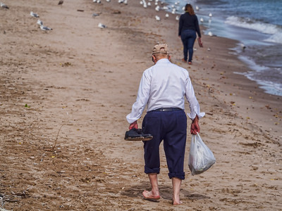 10.7.2016  Cleaning the beach in dress pants & wingtips