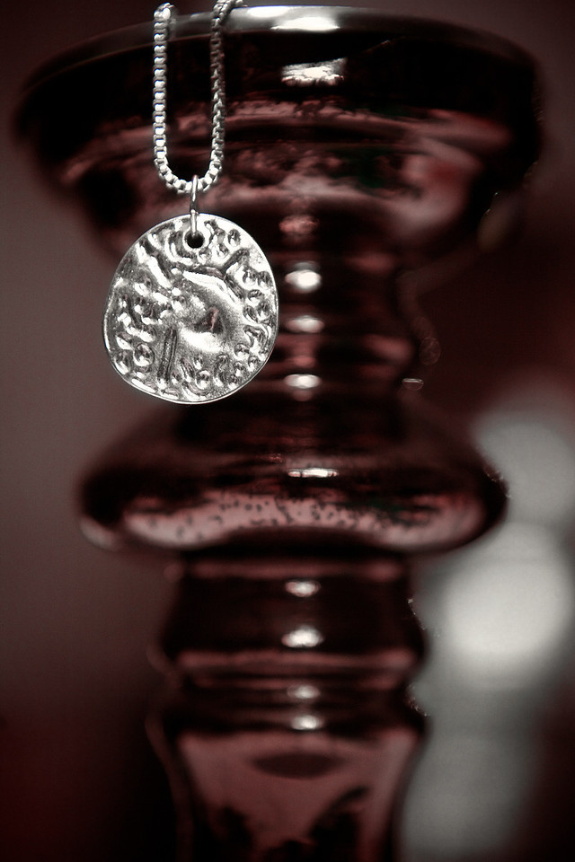 "Not a whole lot of inspiration today, but I found this shiny stamped necklace. I liked the contrast<br /> <br /> Day 23 of 365<br /> 01-23-2013<br /> I've also posted photos from the last two years day 23 here: <a href=""http://douglassandquist.com/shiny-necklace-day-23-of-365/"">http://douglassandquist.com/shiny-necklace-day-23-of-365/</a>"