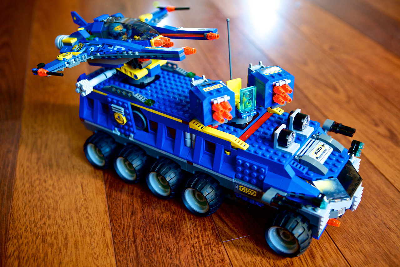 My son got a new Lego set that he was really excited about... Had it all put together in a few hours! It has fire missiles, a jet on top, a medical area, and lots of gadgets to fight the aliens that are ready to attack our planet... 
