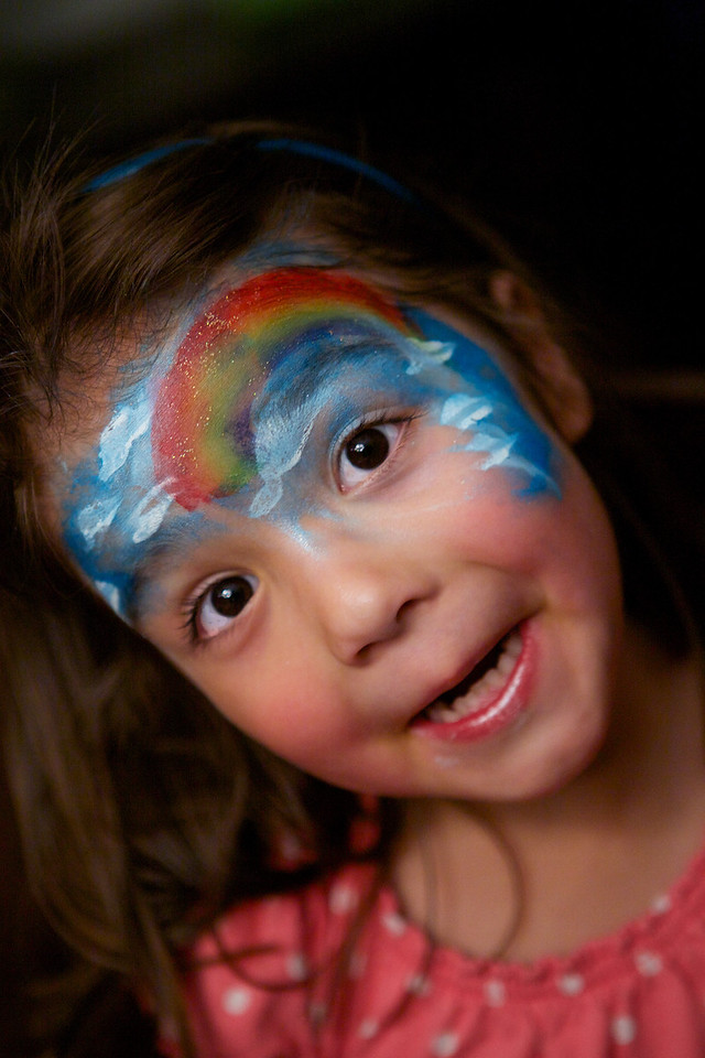 My daughter had a blast at her Pre-K class picnic at her school... She wanted a portrait taken of her facepainting... didn't come out too bad. Only light source was the chandelier over the dining room table! <br /> <br /> Day 151 of 365<br /> 05-31-2013