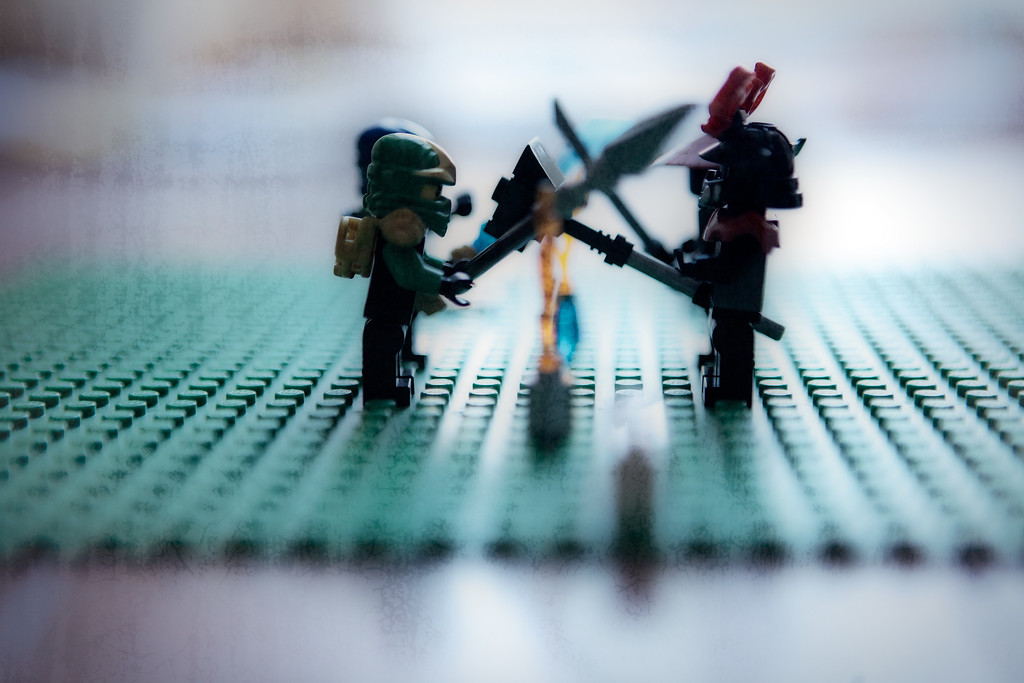 The Lego Ninja's are battling the Stone Warriors.... It's a heated contest so far but I think the Ninja's will hold on in the end! <br /> <br /> 165 of 365<br /> 06-14-2013