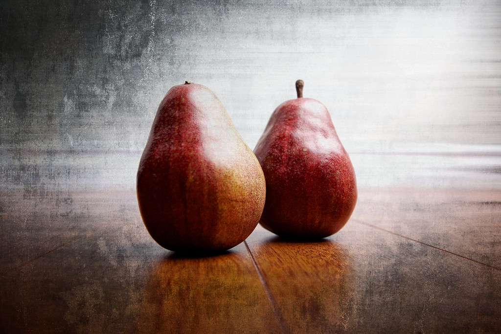 """My wife picked up some Red d'Anjou pears, so I decided to stick them under the large softbox. Yes, they are on my floor! I have a high tech studio! <br /> <br /> Day 43 of 365<br /> 02-12-2013<br /> Edit: I added a few processing notes here <a href=""""http://douglassandquist.com/danjou-pears-day-43-of-365/"""">http://douglassandquist.com/danjou-pears-day-43-of-365/</a>"""