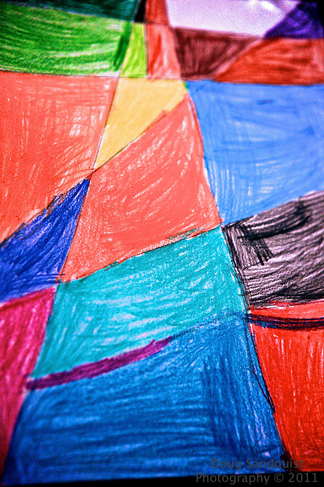 Kid Art! My son Reece has been in summer camp at his school the past week or so, here's one his masterpieces! :)  I like the shapes and choices of colors... I remember switching directions in the middle of the box as well! <br /> <br /> 06-20-2011