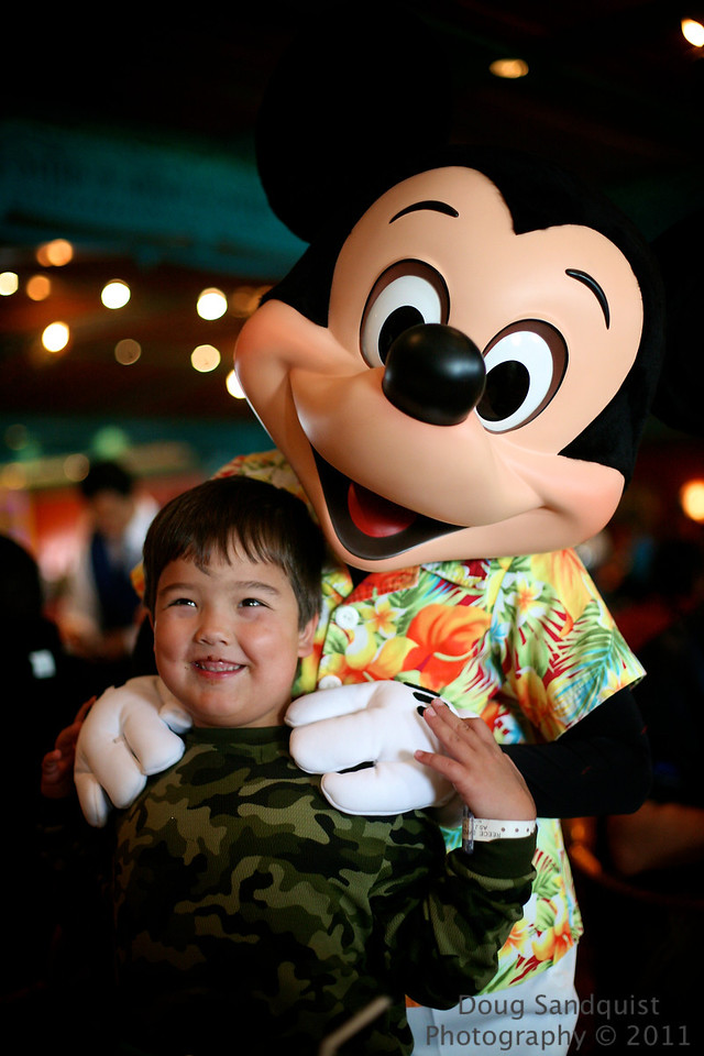 What would a Disney Cruise be without a Character breakfast.... here's a cute capture of Reece with Mickey! <br /> <br /> 09-23-2011