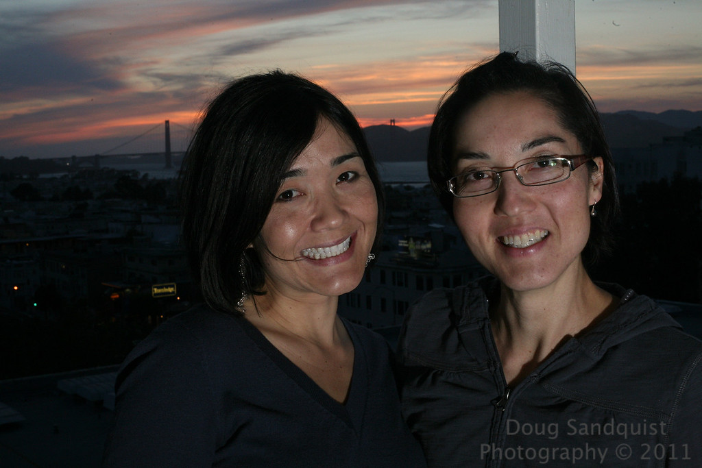 In San Francisco for the weekend! Got here just in time for Sunset! This is my wife and her sister! Wife on the right... Almost too much flash here and wish I could have moved the flash further off camera, but space was an issue,  the Golden Gate bridge in the background. <br /> <br /> 05-28-2011