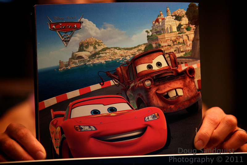 Tried to take a photo of my wife..... and this is what I got instead. Loved Cars2 btw.... <br /> <br /> 07-06-2011
