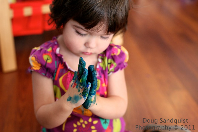 Finger Painting <br /> <br /> I have fond memories of painting with my fingers, my daughter enjoys it too! There is something about seeing  your hands covered in paint. Probably one of the reasons the Blue Man group is so successful..:)<br /> <br /> 01-09-11