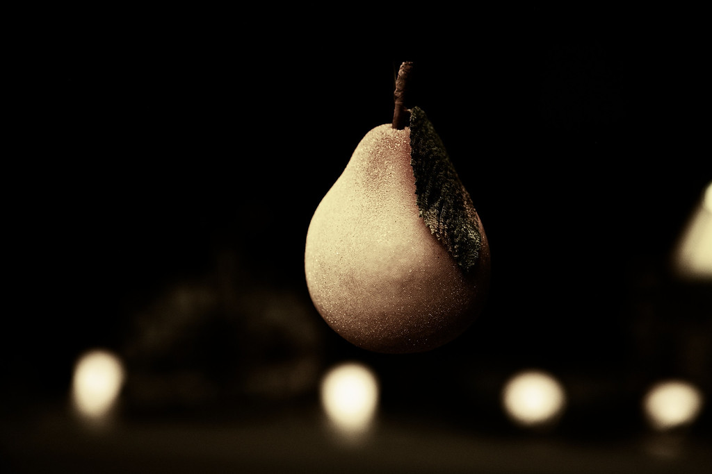 Back to the Pears hanging from our chandelier for the start of December... I did some minor edits in Aperture and then used a really cool filter in Perfect Photo Studio to bring out the glittery surface... <br /> <br /> 12-01-2011