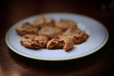 Long day and too tired to switch lenses... so I figured another shallow DOF image was appropriate.... these are some rather tasty Gluten Free cookies! I could resist a bite... :)  11-17-2011