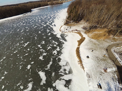 Stepping Stone Falls Clear Winter Day Aerial Photography 5