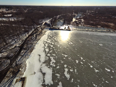 Stepping Stone Falls Clear Winter Day Aerial Photography 13