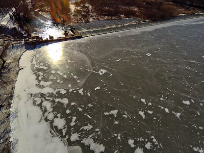 Stepping Stone Falls Clear Winter Day Aerial Photography 4