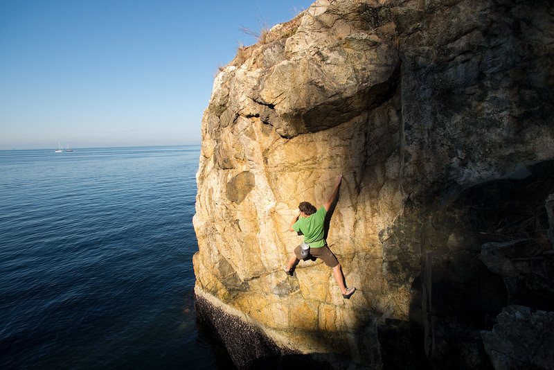 Rock climbing at Lighthouse Park. West Vancouver, British Columbia, Canada