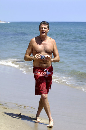 BAYWATCH actor,David Hasselhoff at the Polaroid beach house in Malibu.