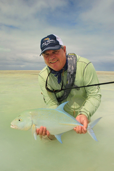 Terry Gunn with a blue fin trevally, Christmas Island,
