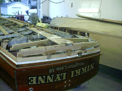 New transom bottom frame glued in place.