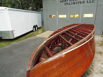 Starboard front view of the old bottom removed.