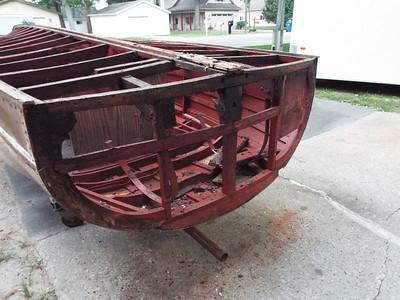 Old transom planks removed exposing bad transom framing.