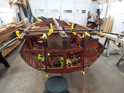 Old transom corners removed along the transom bottom frame.